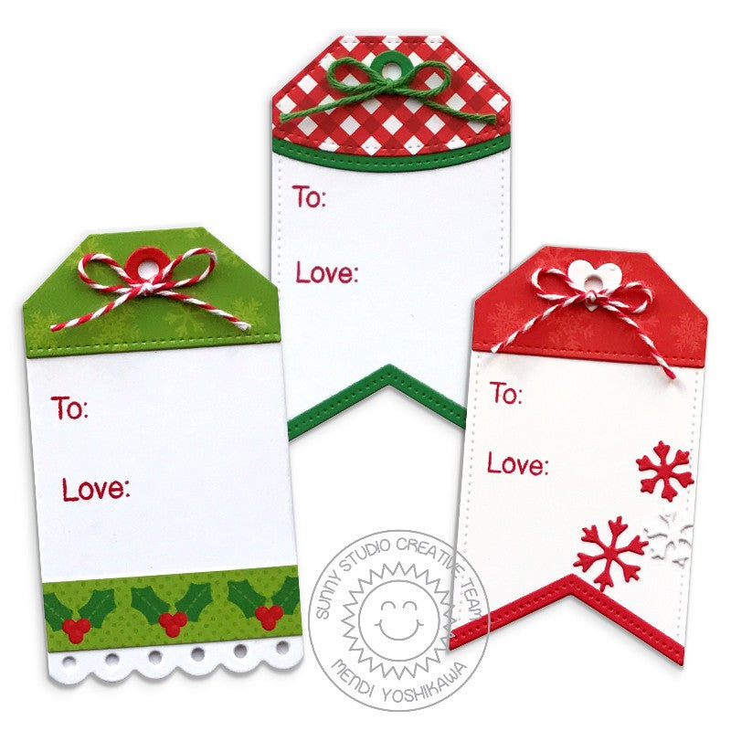 Sunny Studio Stamps Build-A-Tag #2 Holly & Snowflakes Christmas Gift Tag Set