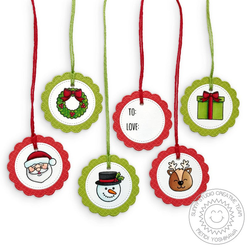Sunny Studio Stamps Round Circular Christmas Gift Tags (using Build-A-Tag #1 Dies)