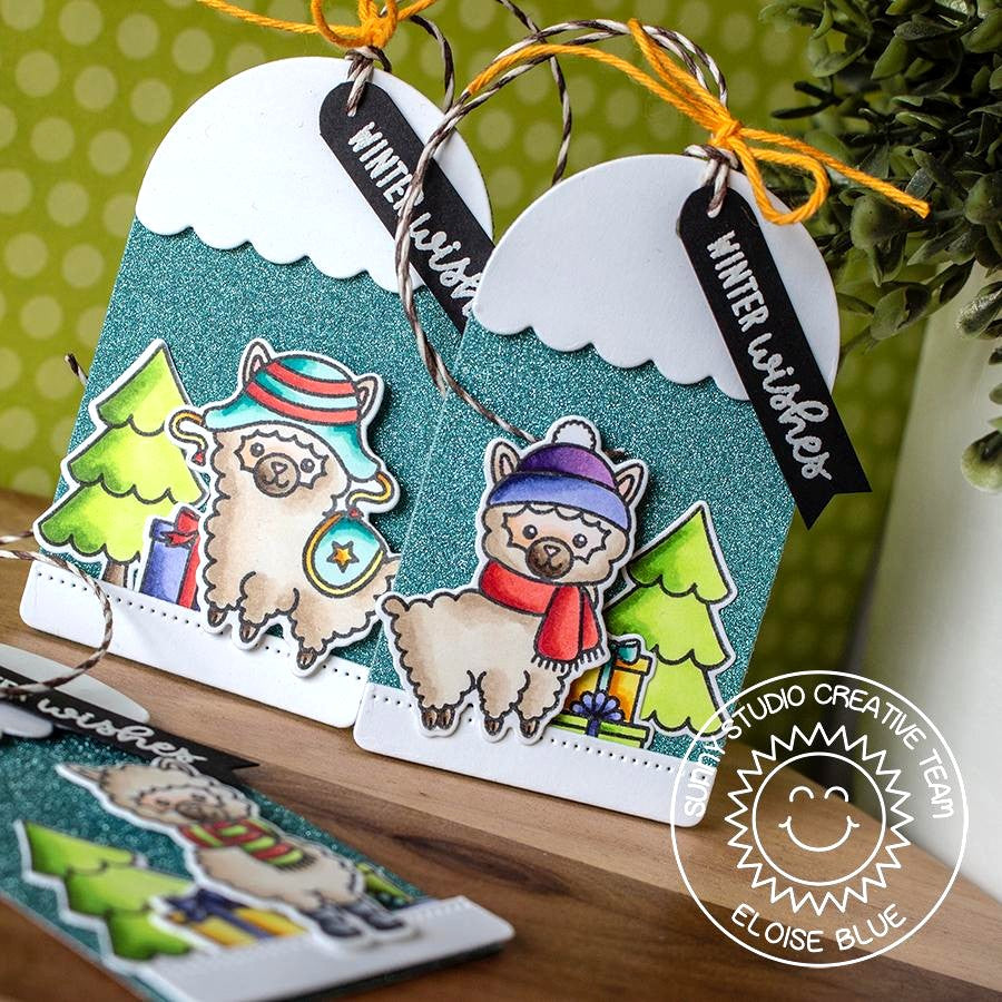 Sunny Studio Stamps Alpaca Holiday Christmas Gift Tags by Eloise Blue