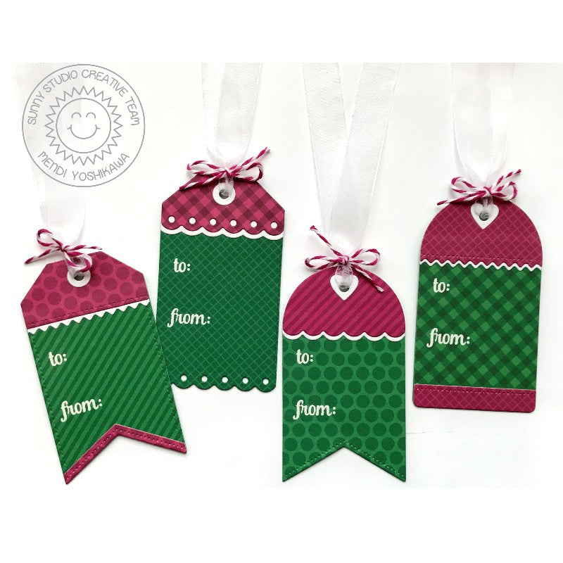 Sunny Studio Stamps Mix & Match Christmas Gift Tag Set (using Build-A-Tag Dies)