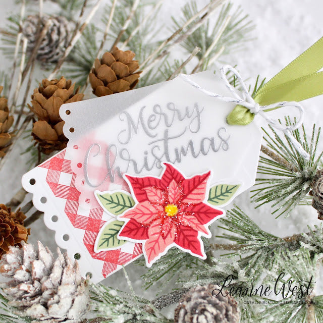 Sunny Studio Red Gingham Poinsettia Christmas Gift Tag (using Background Basics Stamps)