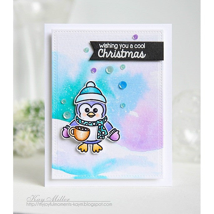 Sunny Studio Stamps Bundled Up Hot Cocoa & Penguin Card