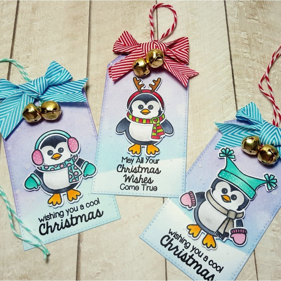 Sunny Studio Stamps Bundled Up Penguin Holiday Gift Tags