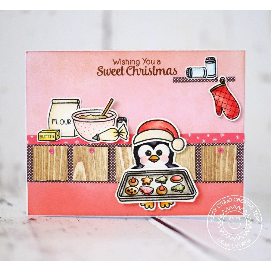 Sunny Studio Wishing You A Sweet Christmas Penguin Making Cookies Holiday Card (using Blissful Baking 4x6 Clear Stamps)