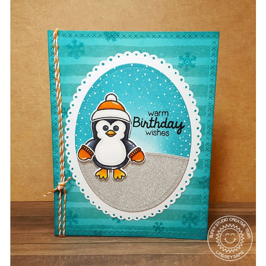 Sunny Studio Stamps Bundled Up Penguin Winter Birthday Card