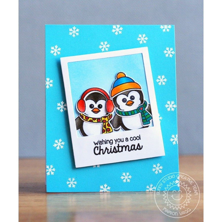 Sunny Studio Stamps Bundled Up Penguins in Polaroid Frame Christmas Card