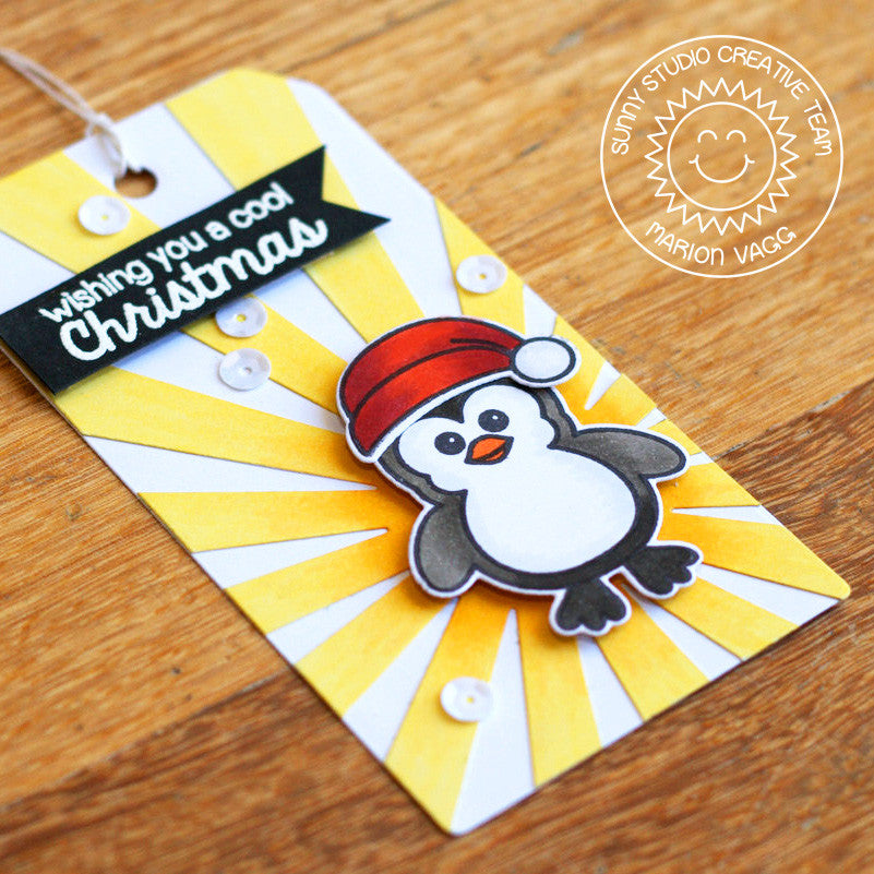 Sunny Studio Stamps Bundled Up Sunray Penguin Gift Tag