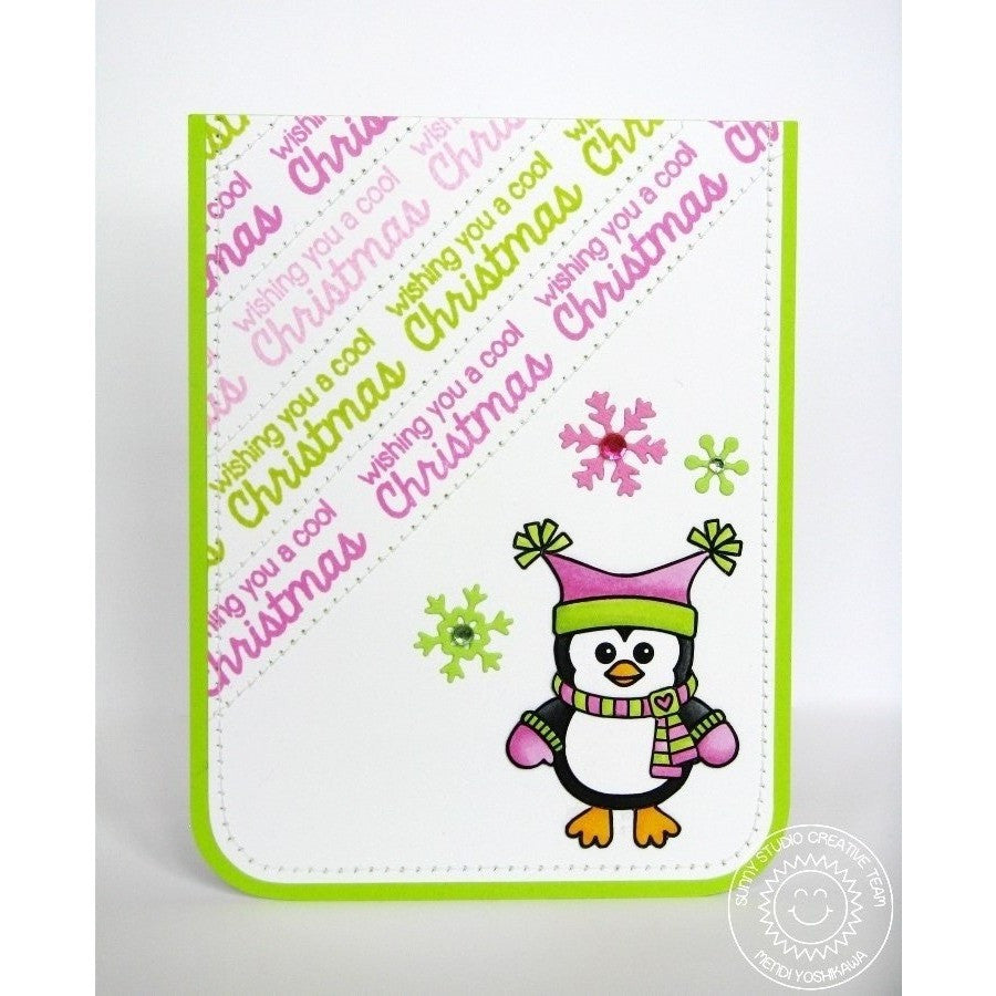 Sunny Studio Stamps Bundled Up Pink & Green Penguin Card