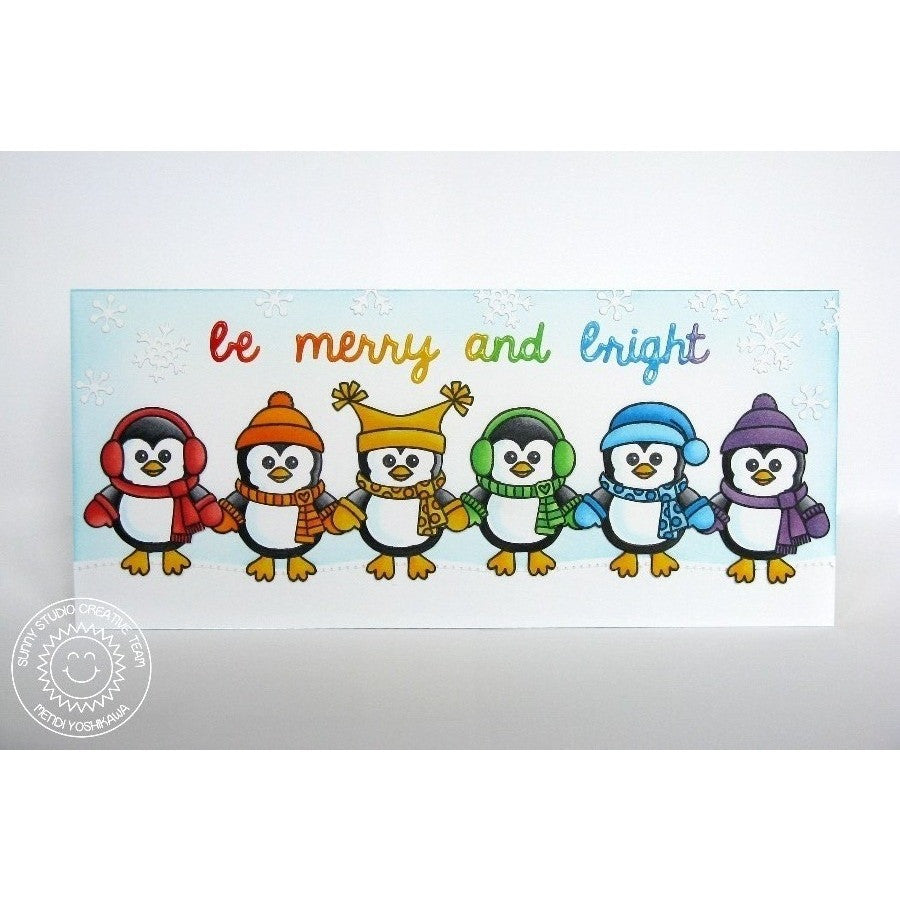 Sunny Studio Stamps Bundled Up Rainbow Penguin Card