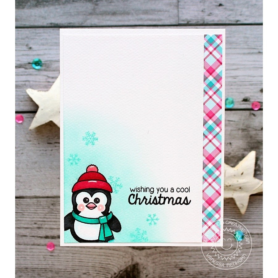 Sunny Studio Stamps Bundled Up Pink & Aqua Plaid Penguin Card