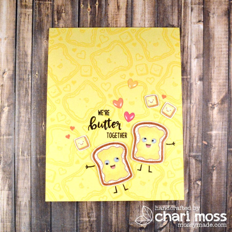 Sunny Studio Stamps: Breakfast Puns We're Butter Together Toast Card by Chari Moss