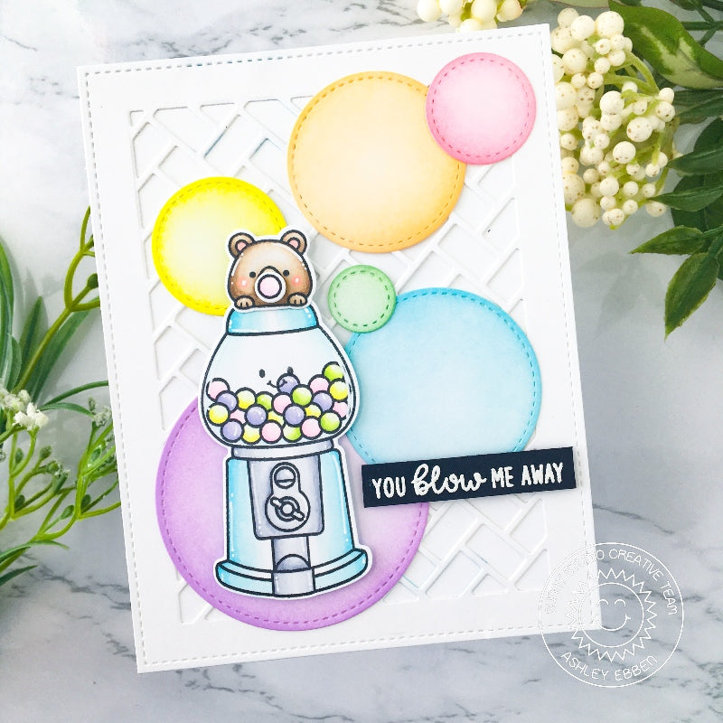 Sunny Studio Bubble Gum Machine Card with Bear Chewing Bubblegum & Blowing Bubbles Card (using Candy Shoppe Clear Stamps)