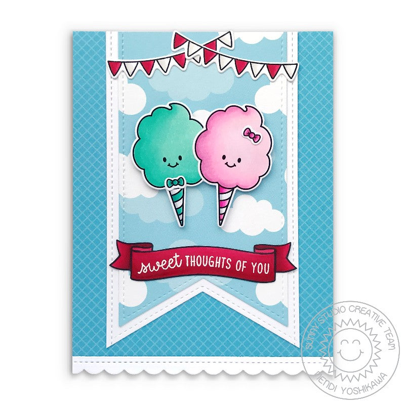 Sunny Studio Sweet Thoughts of You Boy & Girl Mr. & Mrs. Cotton Candy in the Clouds Card (using Candy Shoppe Clear Stamps)