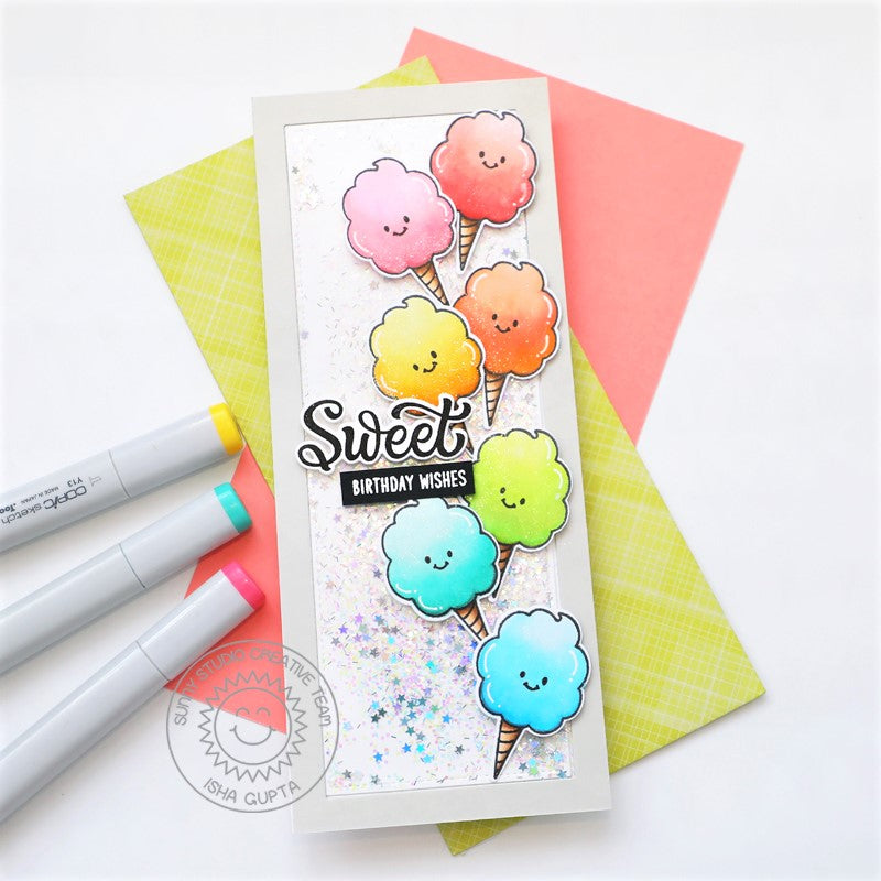 Sunny Studio Sweet Birthday Wishes Rainbow Pastel Cotton Candy Slimline Shaker Card (using Candy Shoppe 4x6 Clear Stamps)