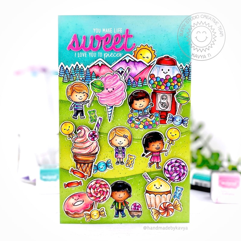 Sunny Studio You Make Life Sweet Colorful Kids Candyland Inspired Card (using Candy Shoppe 4x6 Clear Stamps)