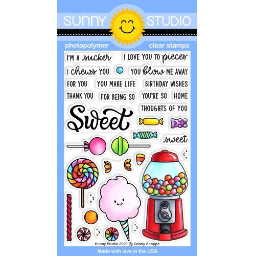 Sunny Studio Candy Shoppe 4x6 Clear Photopolymer Stamps featuring Gumball Machine, Cotton Candy, Swirl Lollipop & Suckers SSCL-297