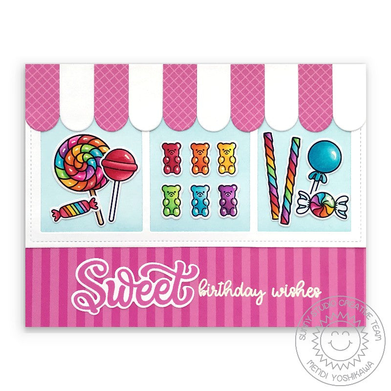 Sunny Studio Sweet Birthday Wishes Candy Shop Store Window with Pink Awning Card (using Candy Shoppe Clear Stamps)