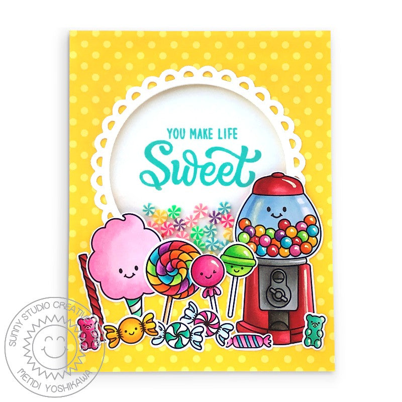 Sunny Studio You Make Life Sweet Yellow Polka-dot Scalloped Swirl Candies Shaker Card (using Candy Shoppe 4x6 Clear Stamps)