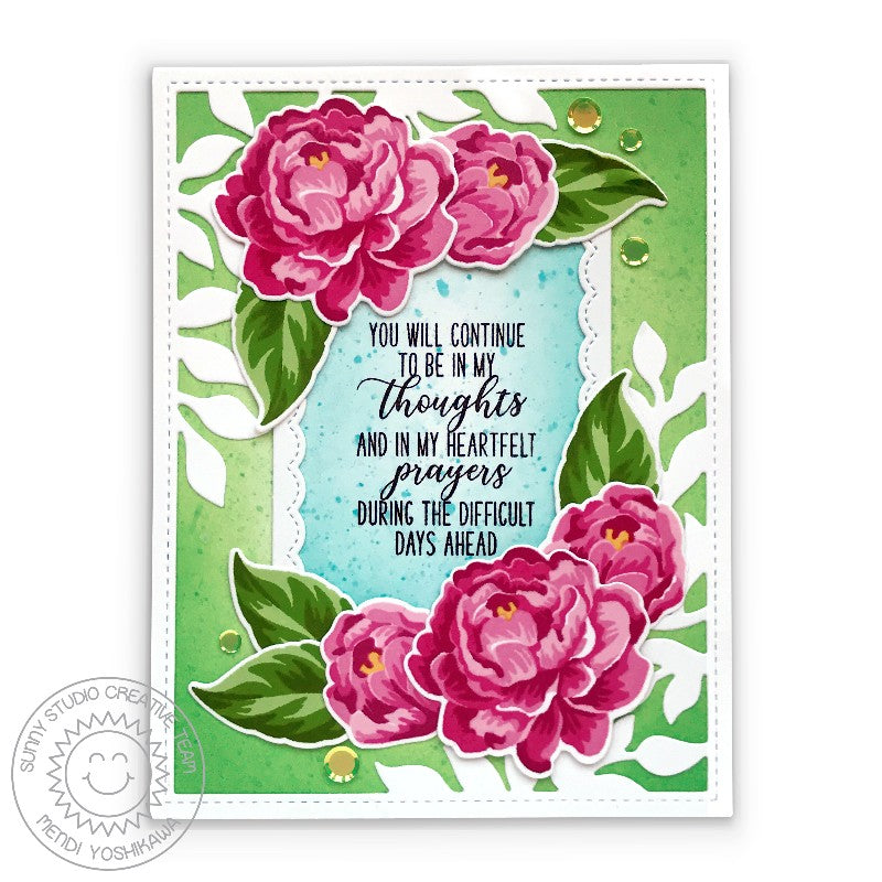 Sunny Studio Stamps Layered Camellias Peonies Floral Sympathy Card (featuring Iridescent Pastel Confetti)