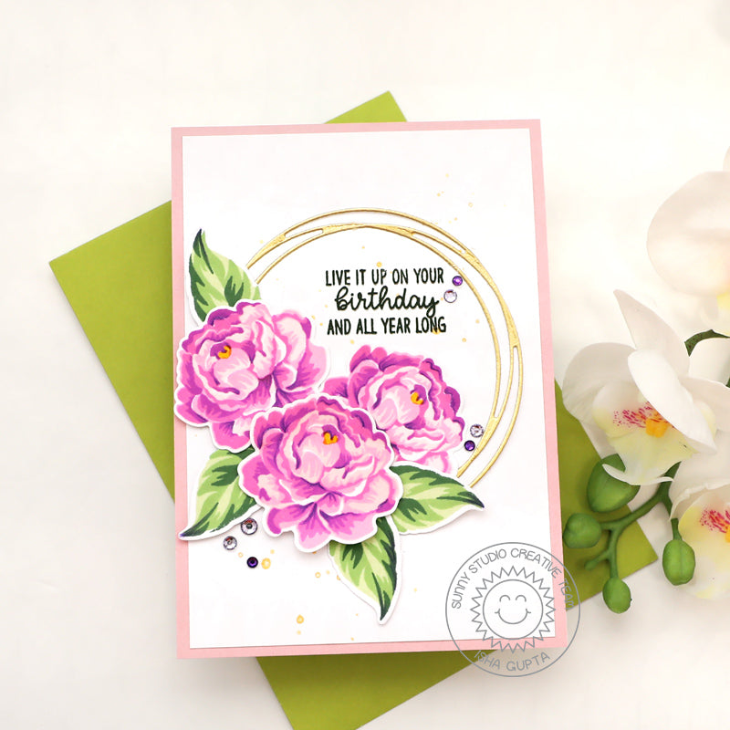Sunny Studio Live It Up on Your Birthday and All Year Long Camellia Flowers Handmade Card (using Inside Greetings Birthday 4x6 Clear Stamps)