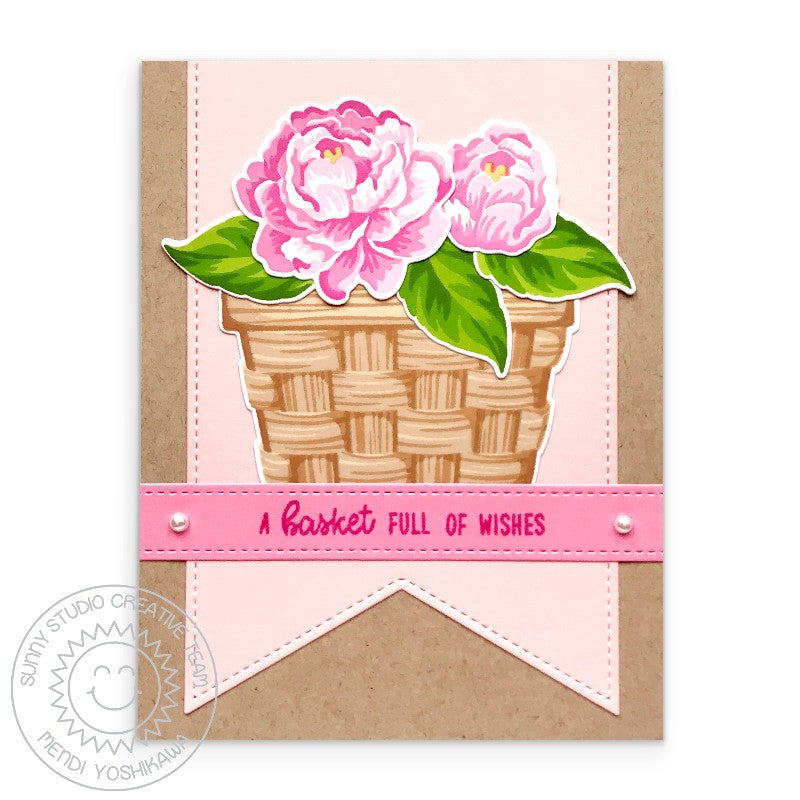 Sunny Studio Stamps Layered Camellias Basket Full of Wishes Floral Card (featuring White Pearls Embellishments)