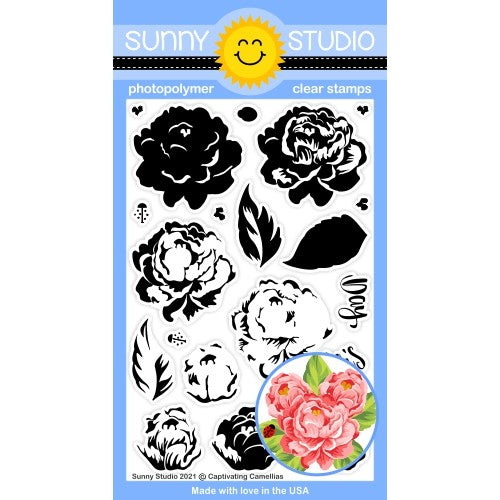 Sunny Studio Captivating Camellias 4x6 Layering Floral Flowers with Ladybug & Mother's Day Greeting Clear Photopolymer Stamps