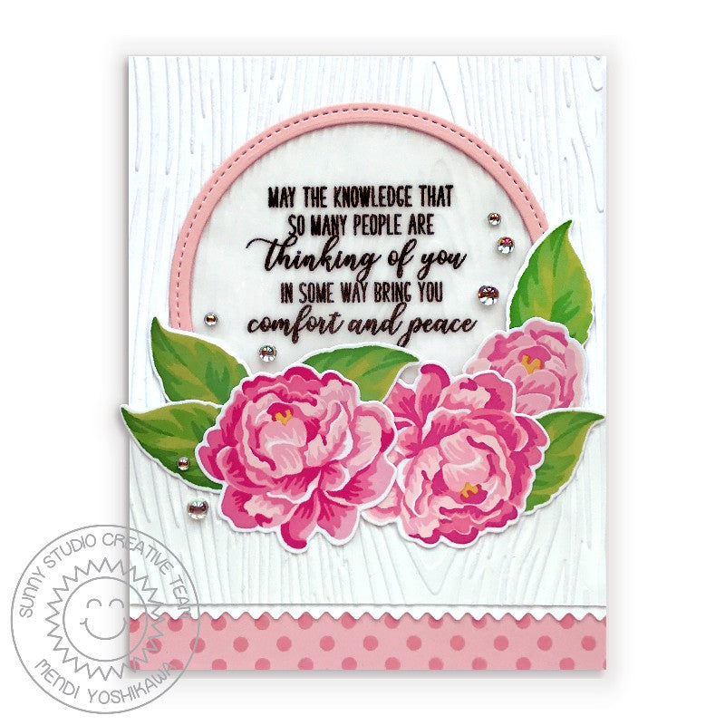Sunny Studio Stamps Layered Peony Camellias Sympathy Card (featuring Clear Mirror Droplets Drops)