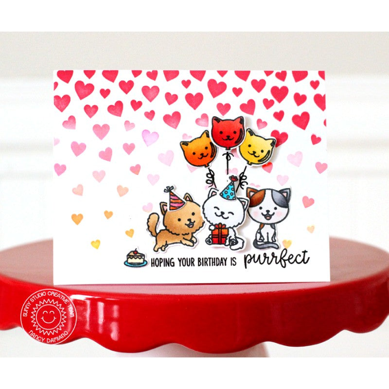 Sunny Studio Stamps Purrfect Birthday Cat Celebration Card by Nancy Damiano