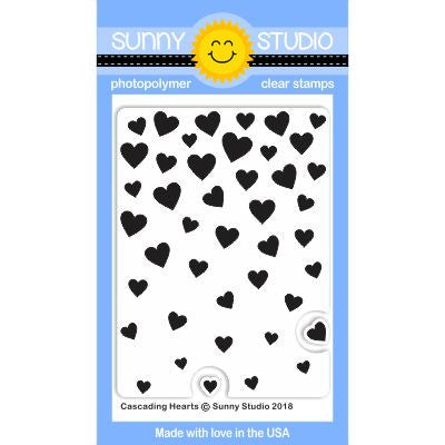 Sunny Studio Stamps Cascading Hearts Background 3x4 Clear Photopolymer Stamp Set