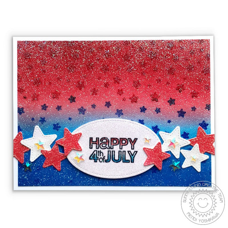 Sunny Studio Stamps: Cascading Starts Glittery Red, White & Blue Fourth of July Card by Mendi Yoshikawa