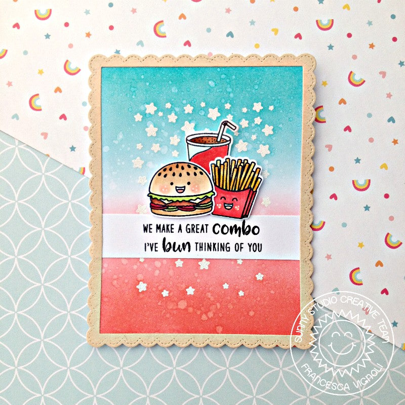 Sunny Studio Stamps Cascading Stars Cheeseburger Meal Red, White & Blue Card