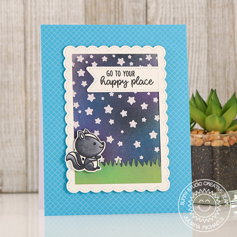 Sunny Studio stamps Starry Night Sky card by Juliana featuring Fancy Frames Rectangle Dies