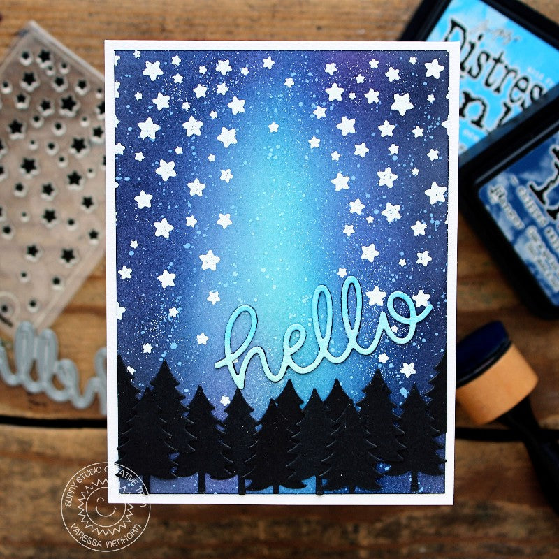 Sunny Studio Stamps Starry Night Sky Woodland Forest Card (using bonus tree from Happy Camper dies)