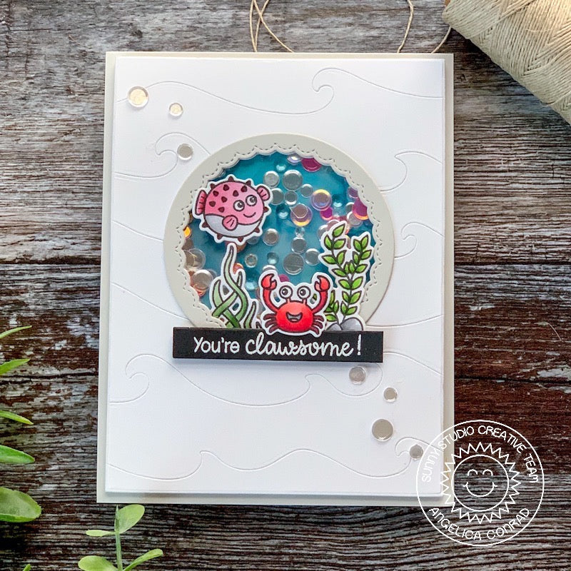 "Sunny Studio Stamps ""You're Clawsome"" Punny Crab Ocean Themed Shaker Card (using Catch A Wave dies)"