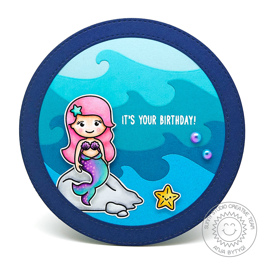 Sunny Studio Stamps Circle Shaped Mermaid Themed Birthday Card by Anja