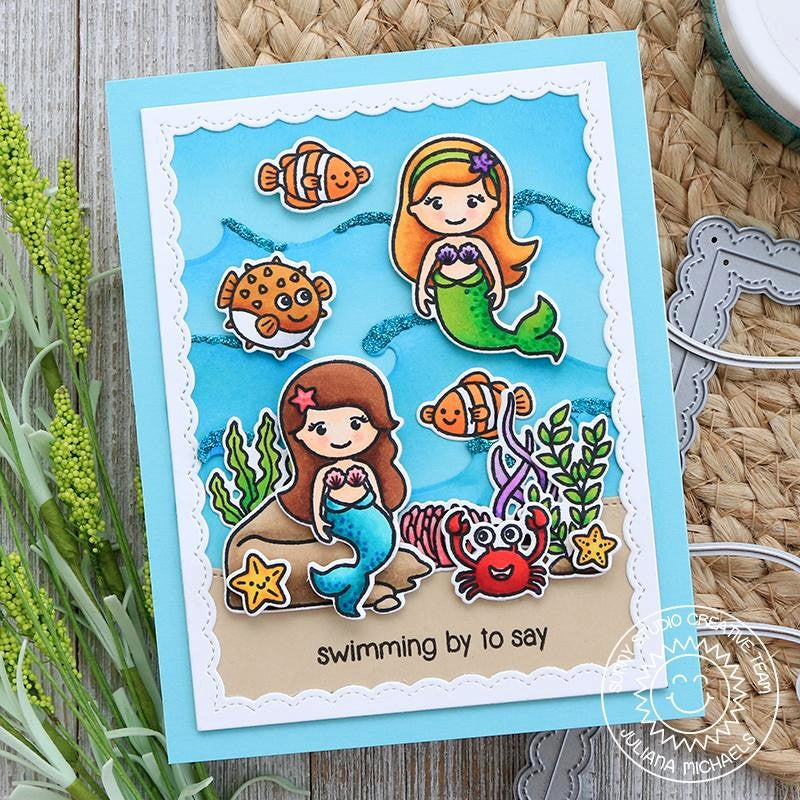 Sunny Studio Stamps Under The Sea Little Mermaid Ocean Themed Card with wave background (using Catch A Wave dies)