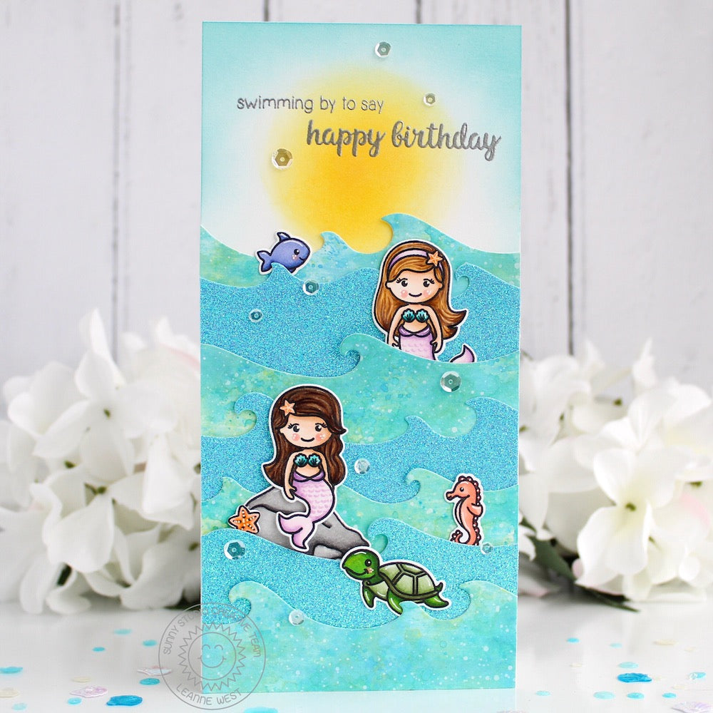 Sunny Studio Stamps Magical Mermaids Elongated Birthday Card by Leanne West (using Catch A Wave Border Dies)