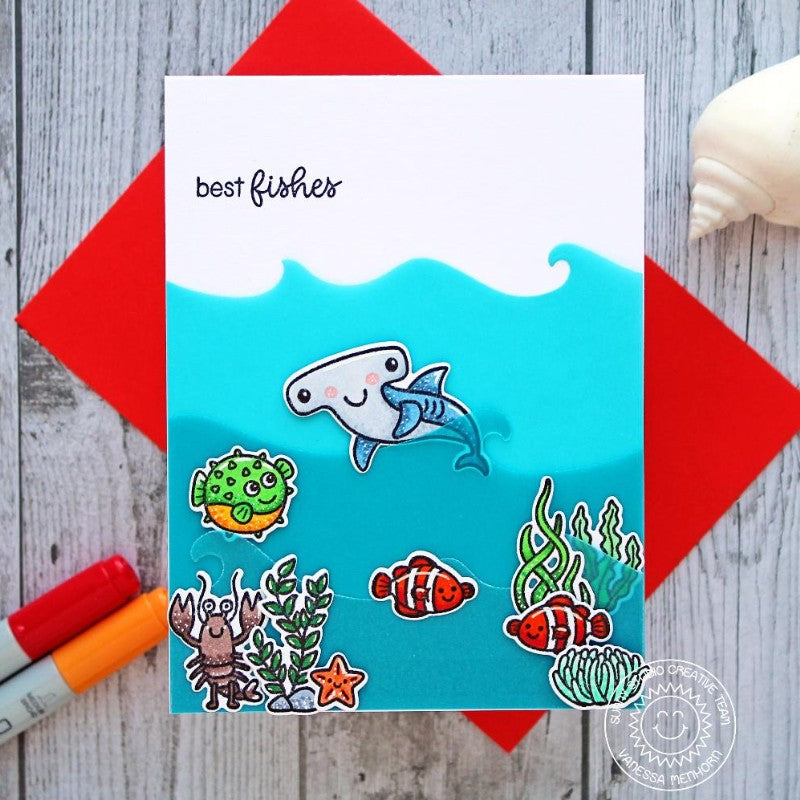 Sunny Studio Stamps Best Fishes Under The Sea Hammerhead Shark card featuring vellum waves