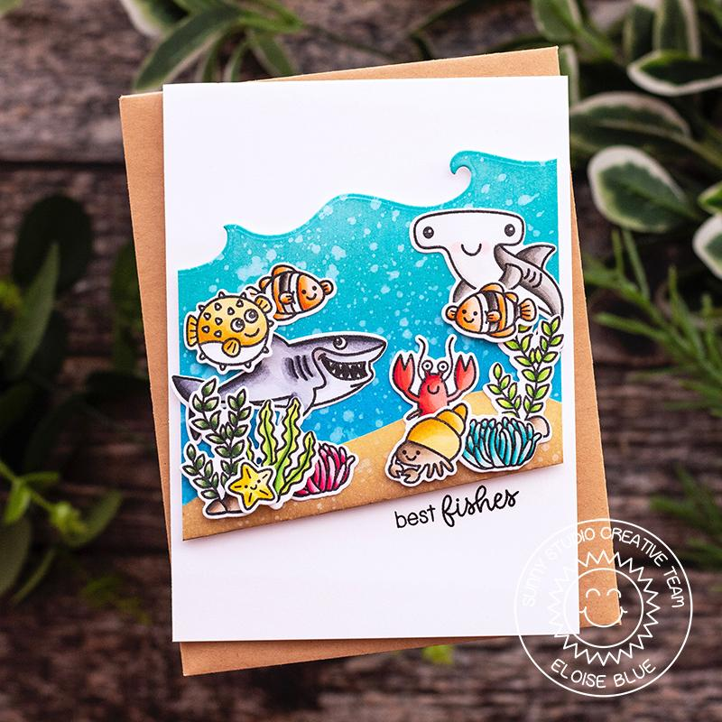 Sunny Studio Stamps Best Fishes Shark Ocean Themed Summer Card (featuring Catch A Wave Dies)