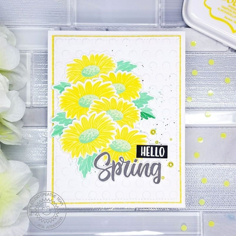 Sunny Studio Stamps Hello Spring Yellow Splattered Layered Daisy Flower Handmade Spring Card (using Cheerful Daisies 4x6 Photopolymer Clear Layering Stamps)