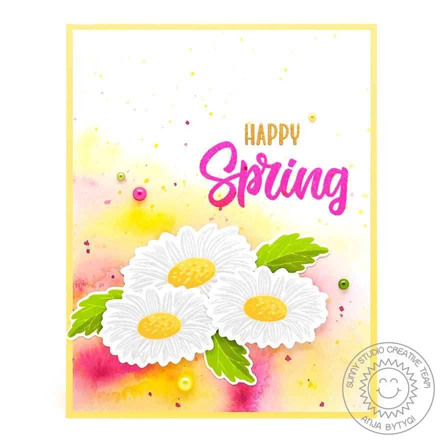 Sunny Studio Happy Spring Ink Splattered Yellow & Pink Layered Daisy Flower Handmade Spring Card (using Cheerful Daisies 4x6 Photopolymer Clear Layering Stamps)