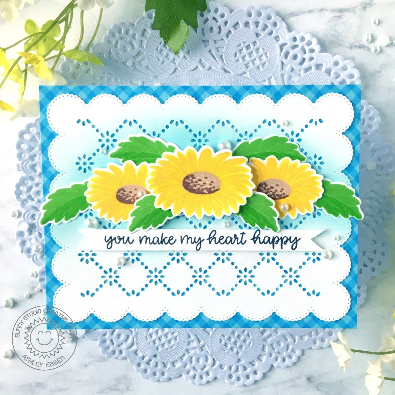Sunny Studio Stamps Cheerful Daisies You Make My Heart Happy Handmade Card (using Frilly Frames Eyelet Lace Metal Cutting Dies)