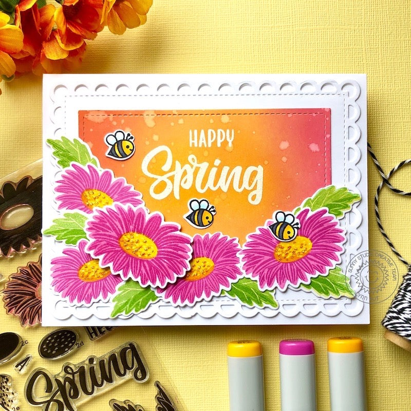Sunny Studio Stamps Happy Spring Layered Daisy Flowers with Bumblebees Honey Bees Handmade Spring Card (using Cheerful Daisies 4x6 Photopolymer Clear Layering Stamps)