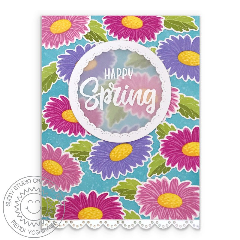 Sunny Studio Stamps Happy Spring Layered Gerber Daisies Handmade Daisy Card (using Eyelet Lace Border Dies)