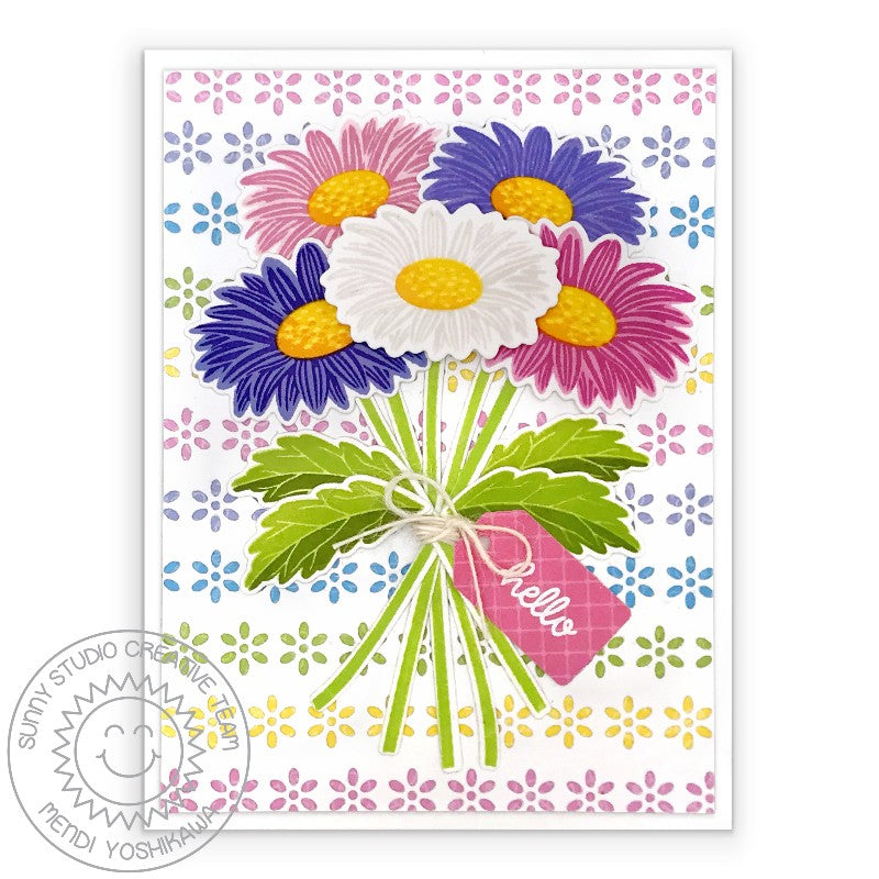 Sunny Studio Stamps Layered Daisies Bouquet Card with Daisy background (using Eyelet Lace Border Dies)