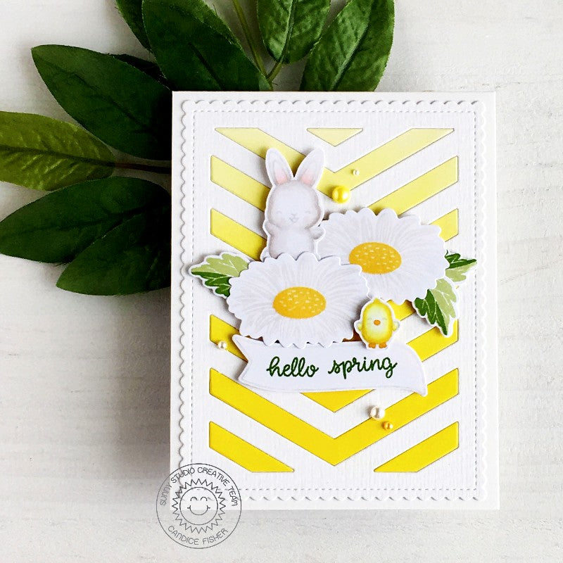Sunny Studio Stamps Easter Bunny Yellow Daisy Hello Spring Handmade Card by Candice Fisher (using Frilly Frames Chevron Background Backdrop Coverplate Cutting Dies)
