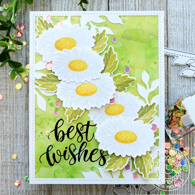 Sunny Studio Cheerful Daisies Daisy Best Wishes Handmade Card by Juliana Michaels (using Layering Layered stamps)