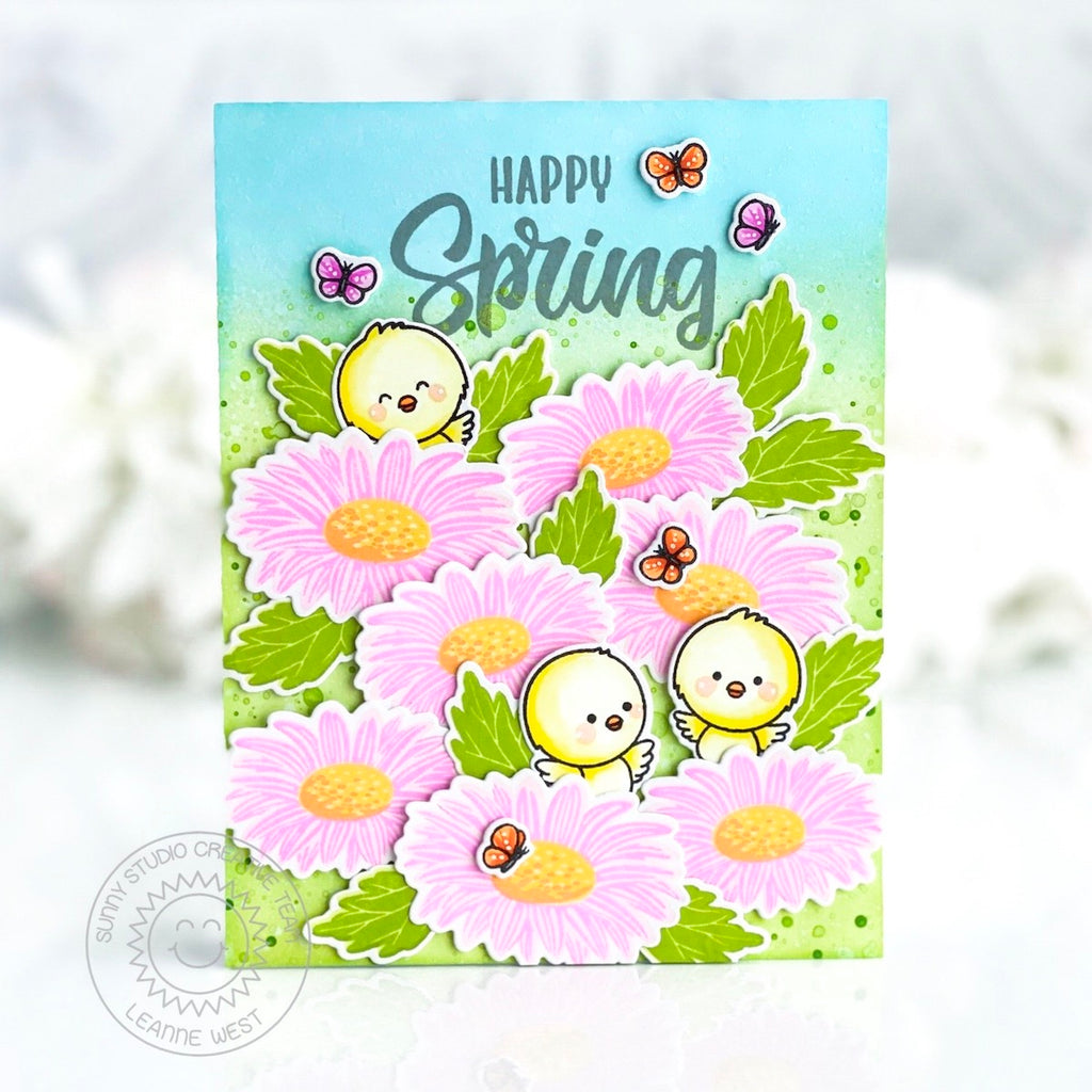 Sunny Studio Stamps Layered Gerbera Daisy with Easter Chicks Happy Spring Handmade Spring Card (using Cheerful Daisies 4x6 Clear Stamps)