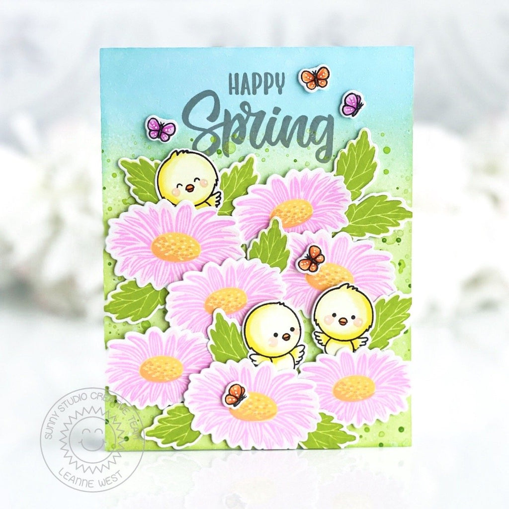 Sunny Studio Stamps Spring Easter Chick in Daisy Patch Handmade Spring Card by Leanne West (using Chickie Baby 4x6 Clear Stamps)
