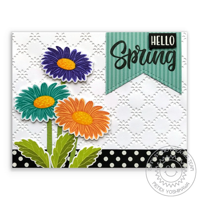 Sunny Studio Stamps Cheerful Daisies Gerber Daisy Hello Spring Card (using Frilly Frames Eyelet Lace Dies for Background)
